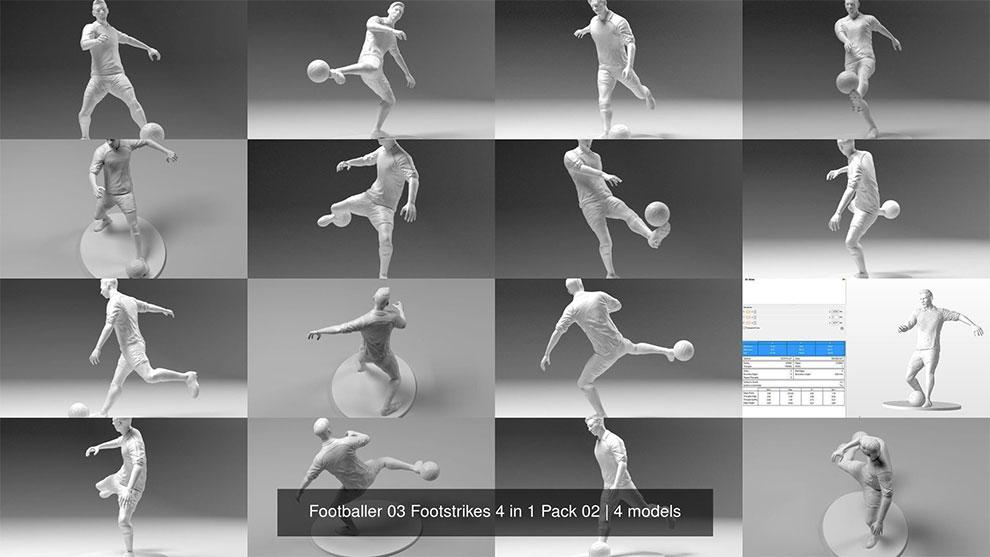 مجموعه مدل سه بعدی مجسمه فوتبالی Footballer 03 Footstrikes 4 in 1 Pack