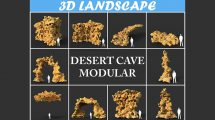 مجموعه مدل سه بعدی سنگ غار صحرایی Low Poly Desert Cave Modular Pack