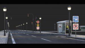 مجموعه مدل سه بعدی جاده و ایستگاه اتوبوس Road and Buss Stop