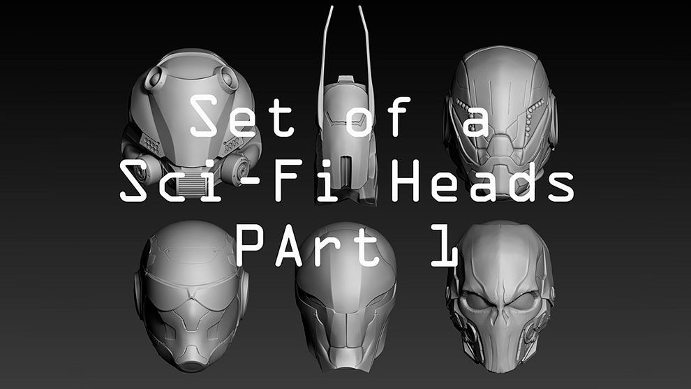 مجموعه مدل سه بعدی کله کاراکتر علمی تخیلی Set of a Sci-Fi Heads