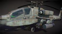 مدل سه بعدی هلیکوپتر نظامی AH-64A Apache Attack Helicopter