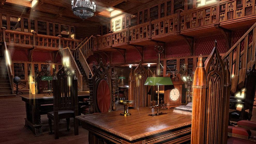 مدل سه بعدی کتابخانه گوتیک Gothic Library