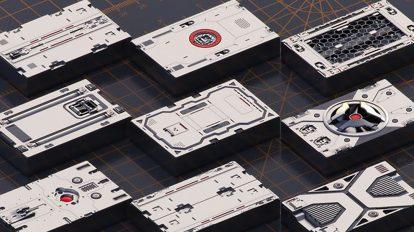 مجموعه مدل سه بعدی پنل صنعتی Mech Warrior Hard Surface Kitbash 6