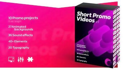 پروژه افترافکت مجموعه تیزر تبلیغاتی با تایپوگرافی Short Promo Videos Set 1
