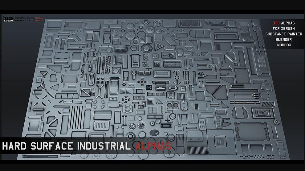 مجموعه تصاویر آلفا برای مدلسازی Hard Surface Industrial Alphas
