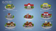 مجموعه موشن گرافیک سه بعدی آیکون ساختمان 3D Animated Building Icon Pack