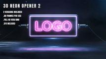 پروژه افرافکت نمایش لوگو 3D Neon Opener