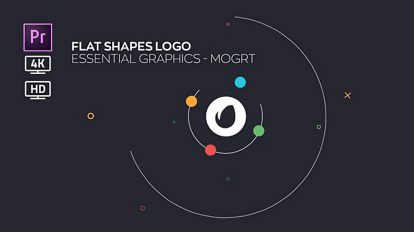 پروژه پریمیر نمایش لوگو با اشکال فلت Flat Shapes Logo