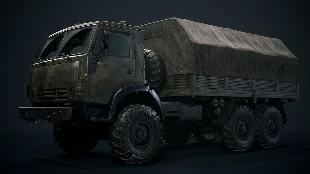 مدل سه بعدی کامیون قدیمی Kamaz 4310