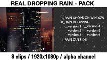 مجموعه فوتیج قطرات باران روی سطح Transparent Rain Drops