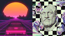 مجموعه فوتیج اجزای ویدیویی دهه هشتادی رترو Vaporwave Elements