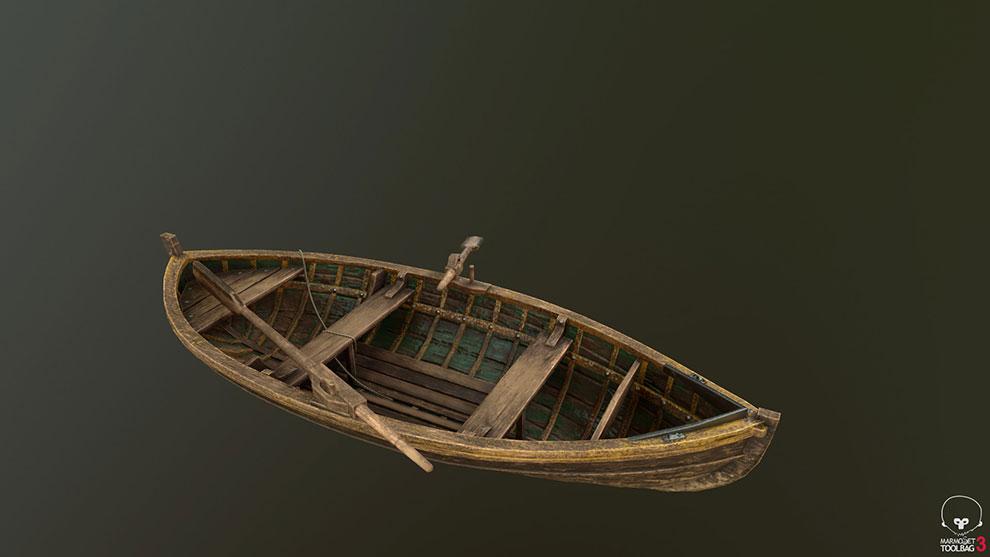 مدل سه بعدی قایق چوبی Wooden Rowboat