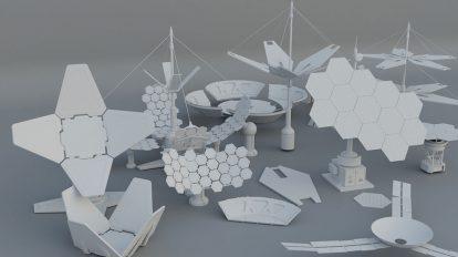 مجموعه مدل سه بعدی پنل خورشیدی Sci-Fi Solar Panels