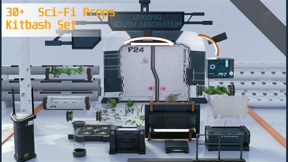 مجموعه مدل سه بعدی اجزای صحنه علمی تخیلی Sci-Fi Props Kitbash Set