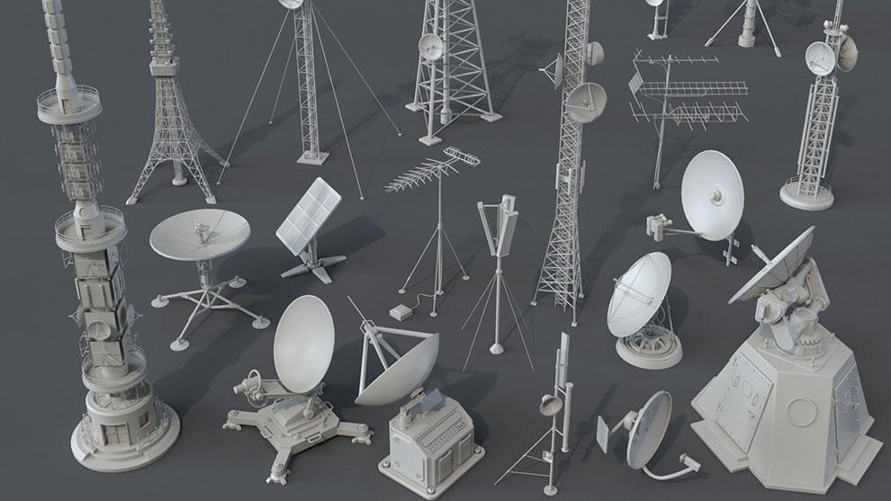 مجموعه مدل سه بعدی آنتن Antennas Pieces