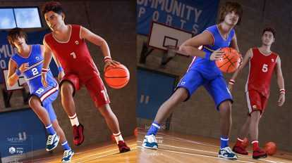 مجموعه مدل سه بعدی بسکتبال Basketball Kit for Genesis 8 Male
