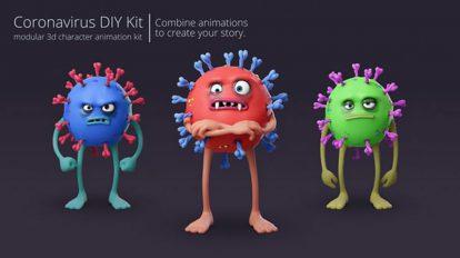 پروژه افترافکت انیمیشن کاراکتر ویروس کرونا Coronavirus Character Animation Kit