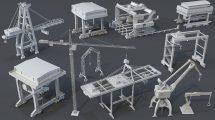 مجموعه مدل سه بعدی اجزای جرثقیل Crane Pieces