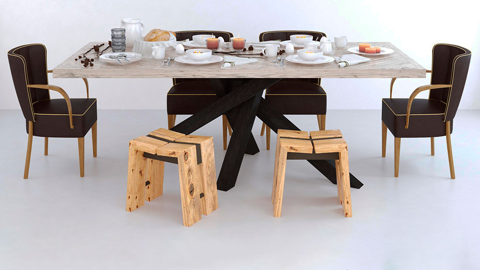 مدل سه بعدی میز صبحانه Dialma Brown Set