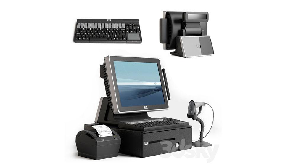 مدل سه بعدی کامپیوتر صندوق حسابداری HP Cashier