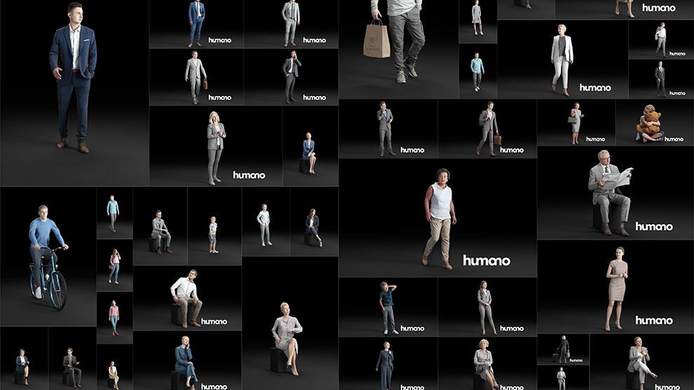 مجموعه مدل سه بعدی کاراکتر انسان Humano3D People 56 Models