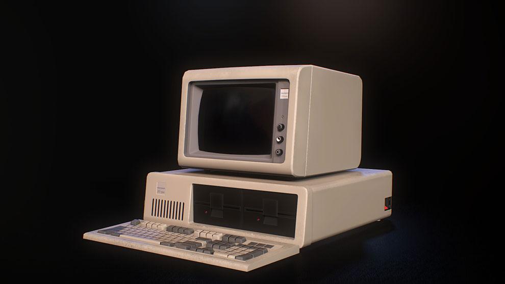 مدل سه بعدی کامپیوتر قدیمی IBM PC XT-5150