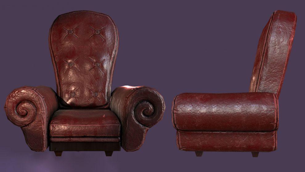مدل سه بعدی صندلی چرمی Leather Armchair
