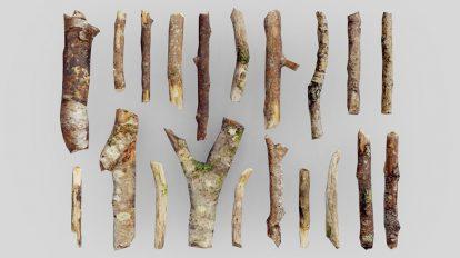 مجموعه مدل سه بعدی تکه چوب Low Poly Sticks