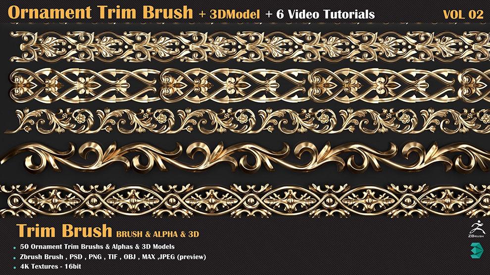 مجموعه براش زیبراش تزیینی Ornament Trim Brush Vol 2