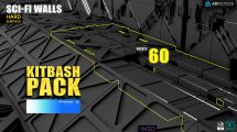 مجموعه مدل سه بعدی دیوار Sci-Fi Walls Kitbash Pack
