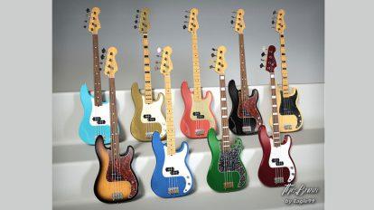 مدل سه بعدی گیتار باس بهمراه ژست دست The Bass Guitar and Poses