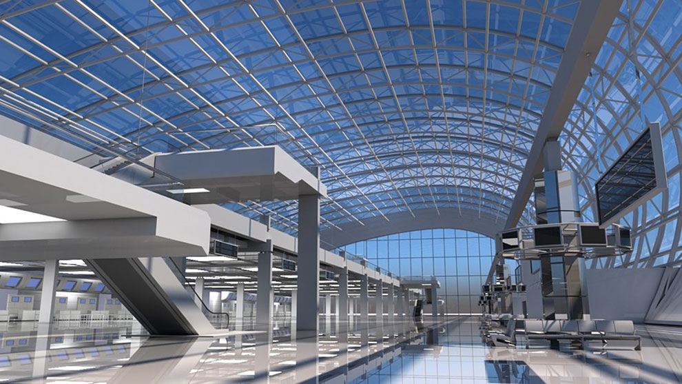 صحنه سه بعدی محیط داخلی فرودگاه Airport Check In Interior