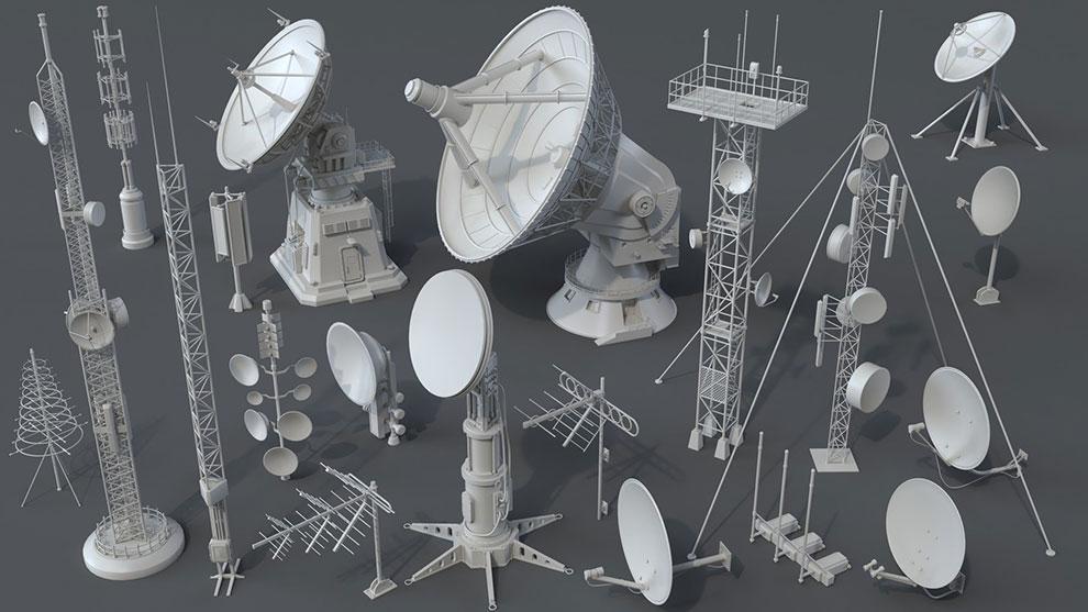 مجموعه مدل سه بعدی آنتن Antennas 20 Pieces Part 2