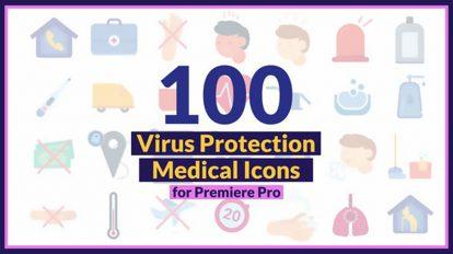 پروژه پریمیر مجموعه انیمیشن آیکون ویروس کرونا Corona Virus Medical Icons