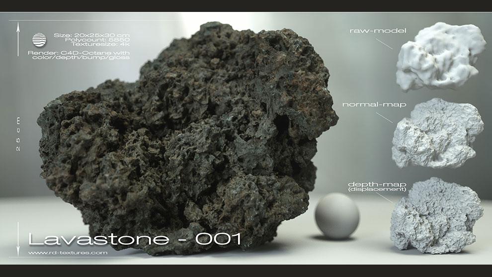 مدل سه بعدی سنگ گدازه Lavastone 01