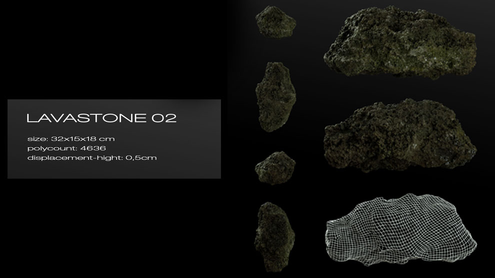مدل سه بعدی سنگ گدازه Lavastone 02