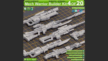 مجموعه مدل سه بعدی سلاح علمی تخیلی Mech Warrior Hard Surface Kitbash 1