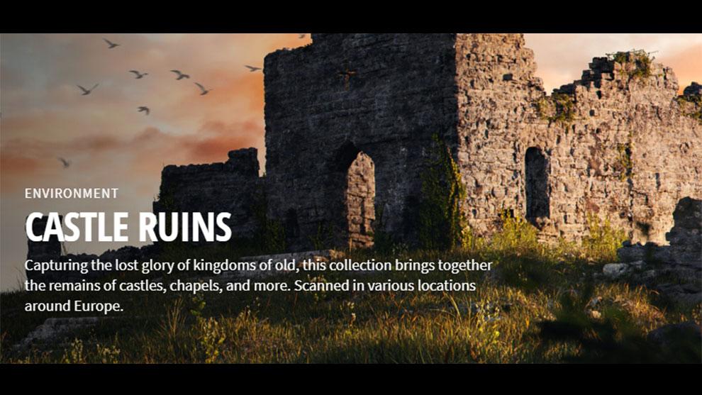 مجموعه تکسچر خرابه های قلعه Quixel Castle Ruins