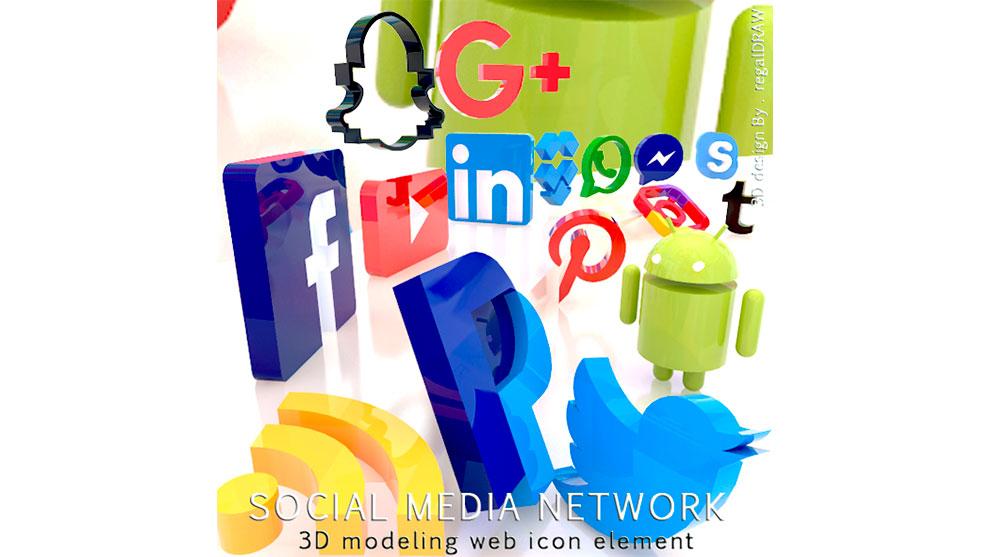 مدل سه بعدی آیکون شبکه های اجتماعی Social Media Networks Icon