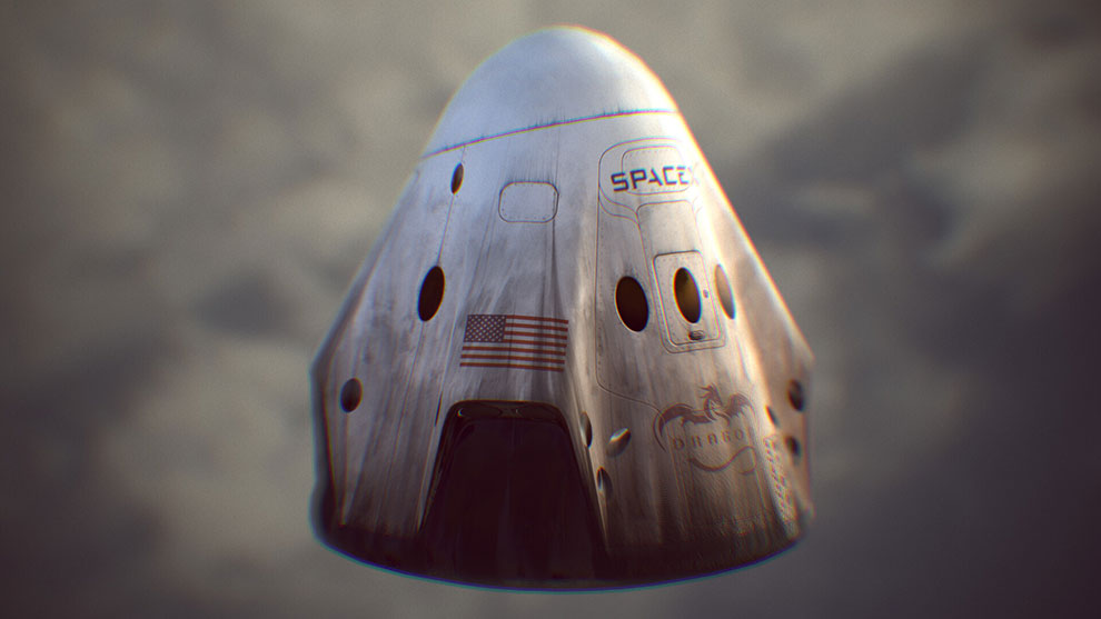 مدل سه بعدی فضاپیما دراگون SpaceX Dragon 2 Ship