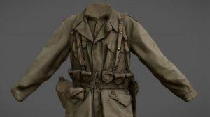 مدل سه بعدی یونیفورم لباس سرباز آمریکایی در جنگ جهانی