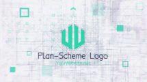 پروژه افترافکت نمایش لوگو روی طرح Blueprint Scheme Logo