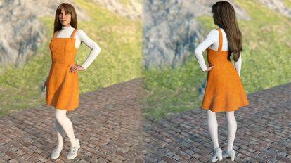 مدل سه بعدی لباس زنانه Corduroy Jumper Outfit for Genesis 8