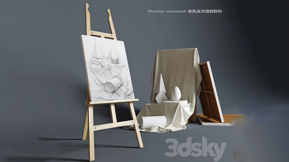 مدل سه بعدی سه پایه نقاشی Easel Outdoor