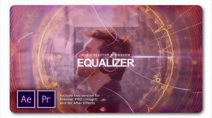 پروژه پریمیر اسلایدشو با اکولایزر موزیک Equalizer Music Reactor Slides