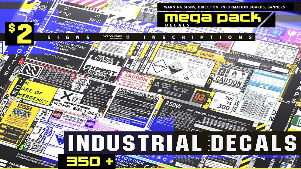 مجموعه تصاویر برچسب صنعتی Industrial Decals Mega Pack