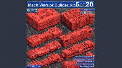 مجموعه مدل سه بعدی سلاح علمی تخیلی Mech Warrior Hard Surface Kitbash 5 of 20
