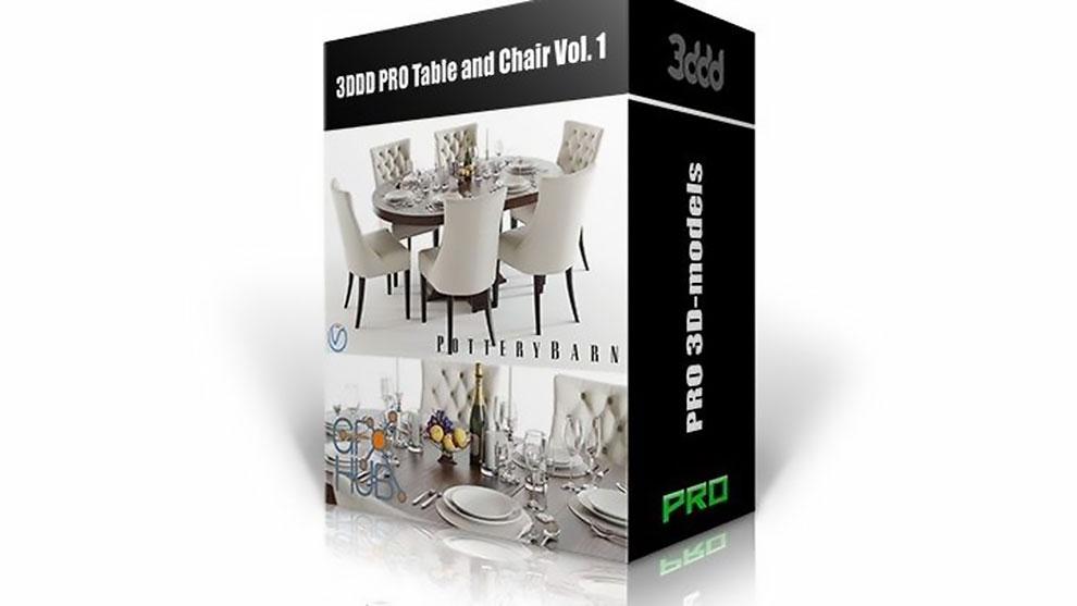 مجموعه مدل سه بعدی میز و صندلی Pro Table Chair Vol.1