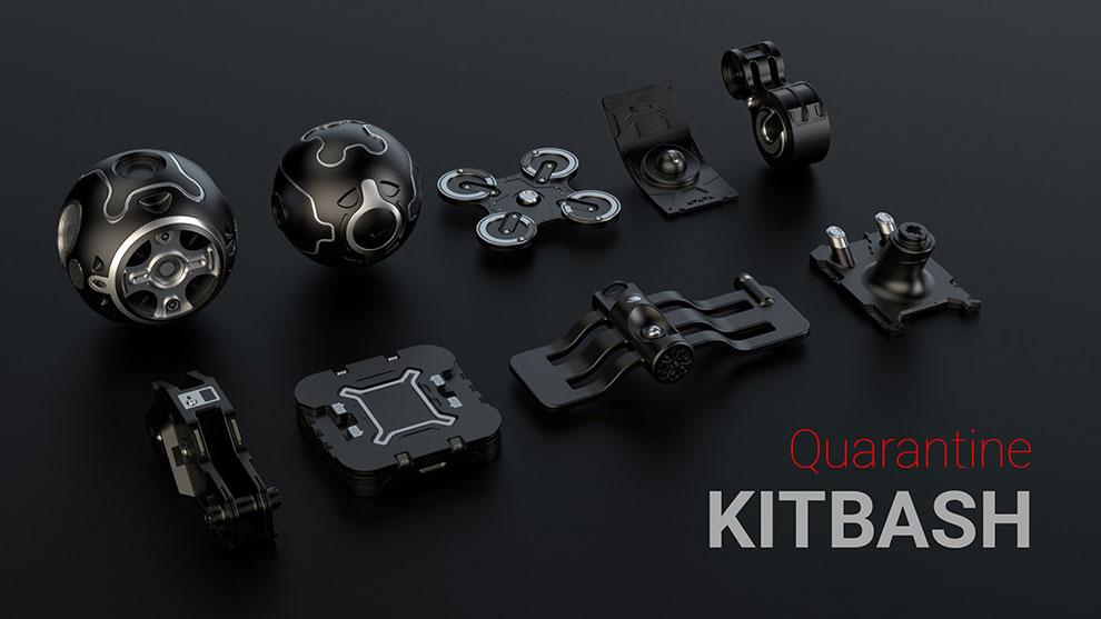 مجموعه مدل سه بعدی اجزای هایتک Quarantine Kitbash 2020