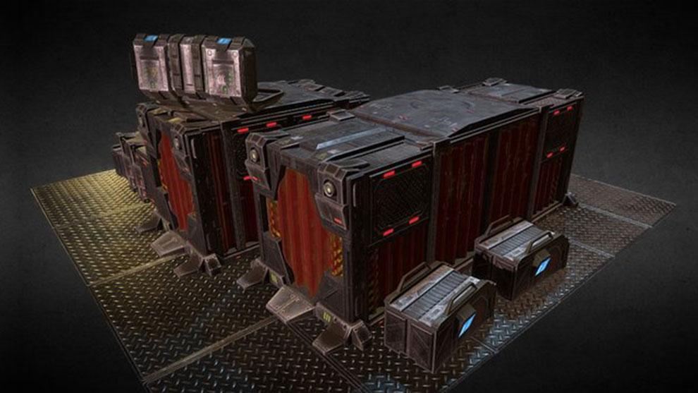 مجموعه مدل سه بعدی تجهیزات پیشرفته Sci-Fi Cargo Bay